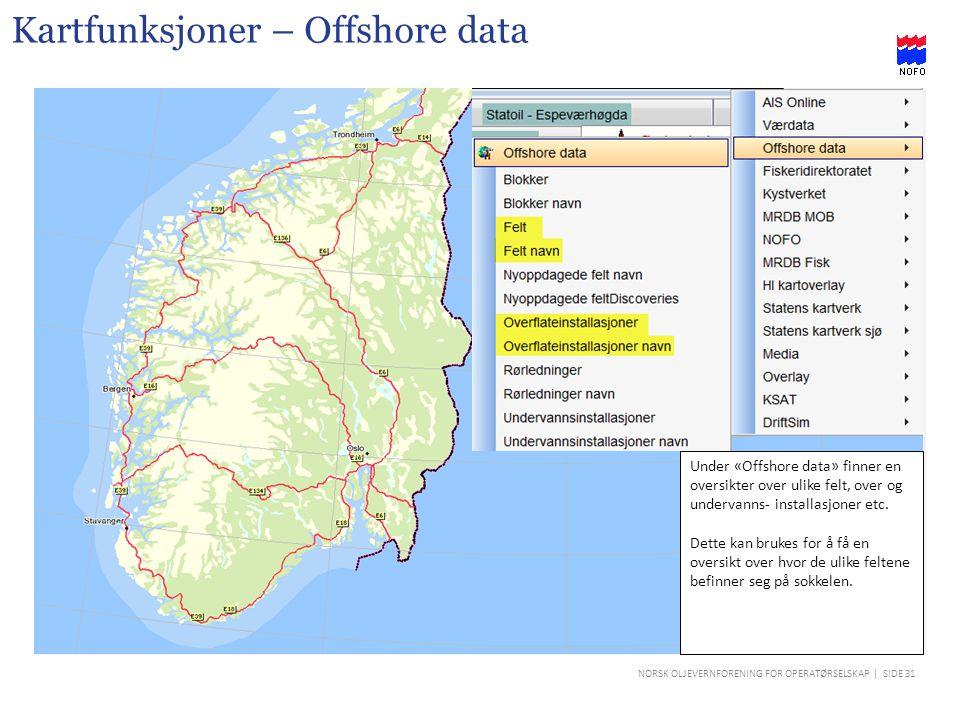 Kartfunksjoner – Offshore data
