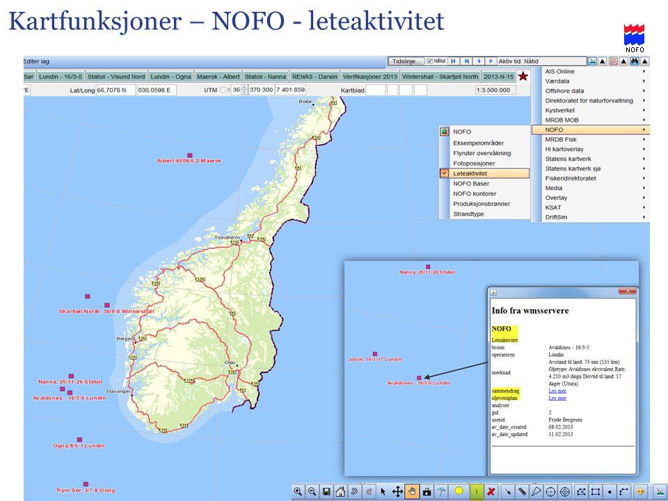 Kartfunksjoner – NOFO - leteaktivitet