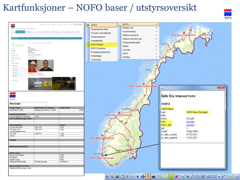 Kartfunksjoner – NOFO baser / utstyrsoversikt