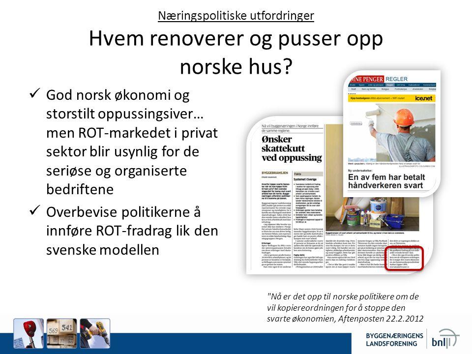 Næringspolitiske utfordringer Hvem renoverer og pusser opp norske hus
