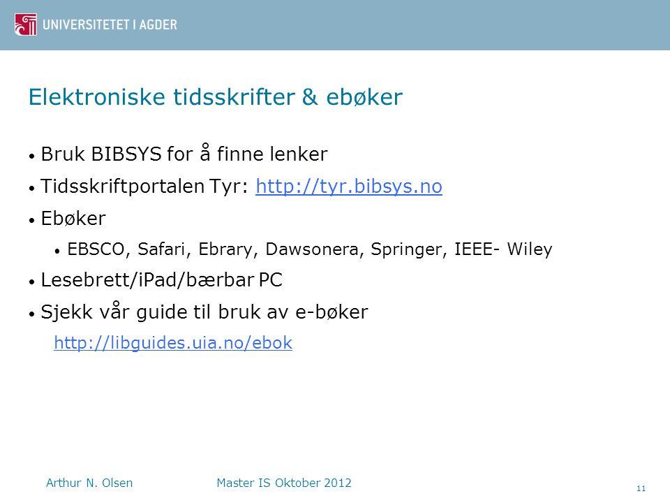 Elektroniske tidsskrifter & ebøker