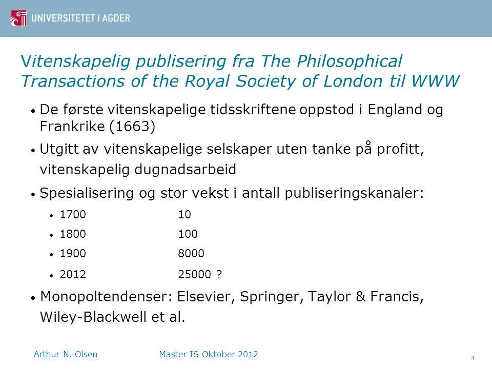 Vitenskapelig publisering fra The Philosophical Transactions of the Royal Society of London til WWW