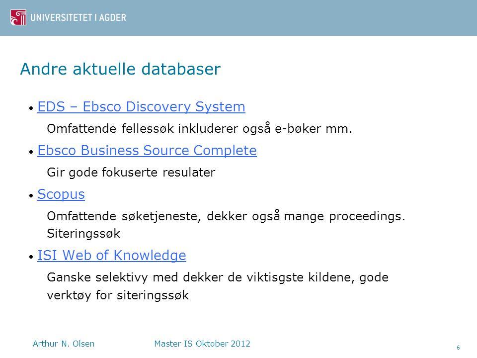 Andre aktuelle databaser