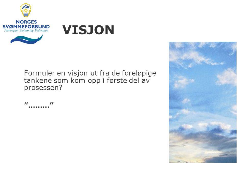 VISJON Formuler en visjon ut fra de foreløpige tankene som kom opp i første del av prosessen ………