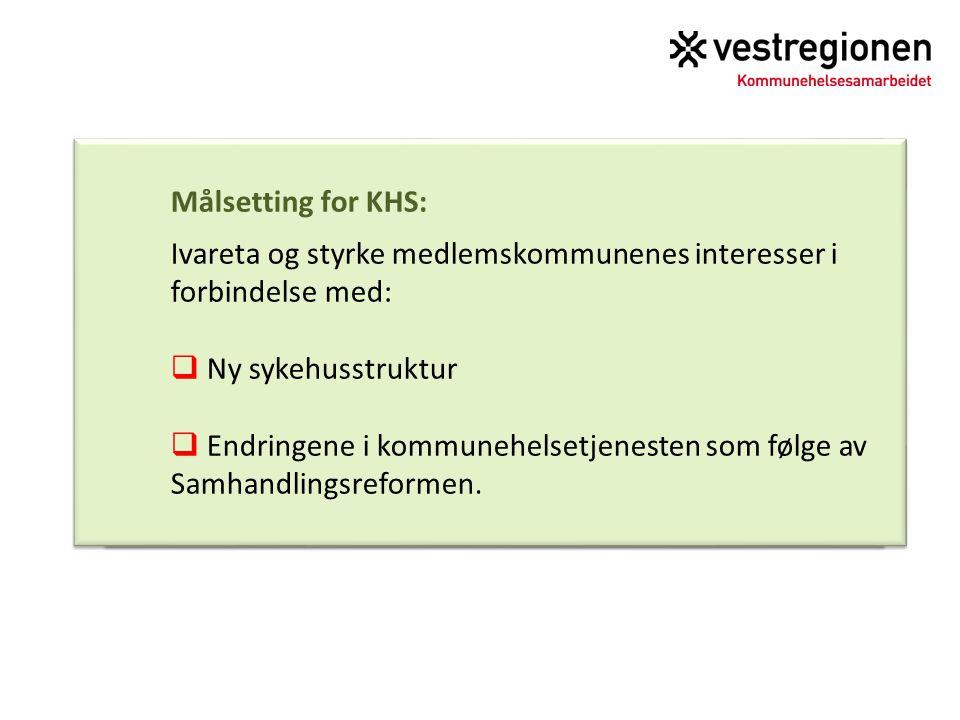 Målsetting for KHS: Ivareta og styrke medlemskommunenes interesser i forbindelse med: Ny sykehusstruktur.