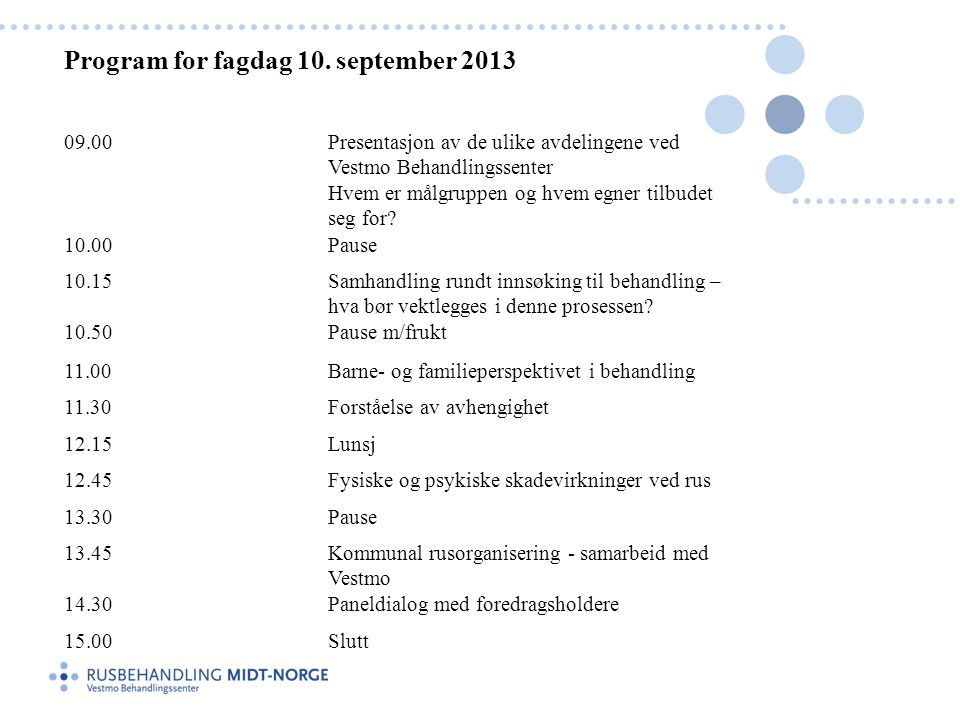 Program for fagdag 10. september 2013
