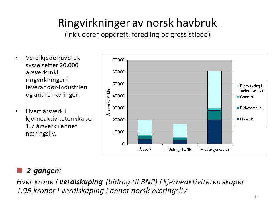 Ringvirkninger av norsk havbruk (inkluderer oppdrett, foredling og grossistledd)
