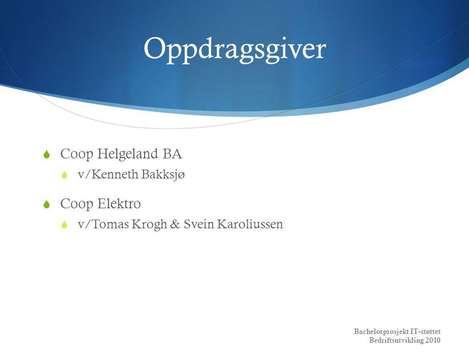 Oppdragsgiver Coop Helgeland BA Coop Elektro v/Kenneth Bakksjø