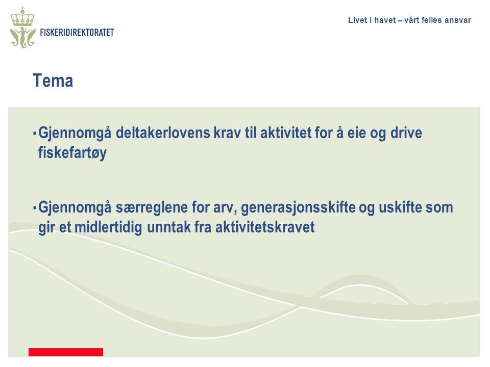 Tema Gjennomgå deltakerlovens krav til aktivitet for å eie og drive fiskefartøy.