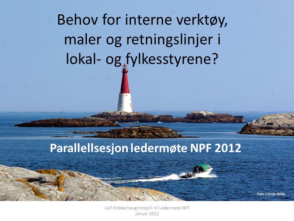 Parallellsesjon ledermøte NPF 2012