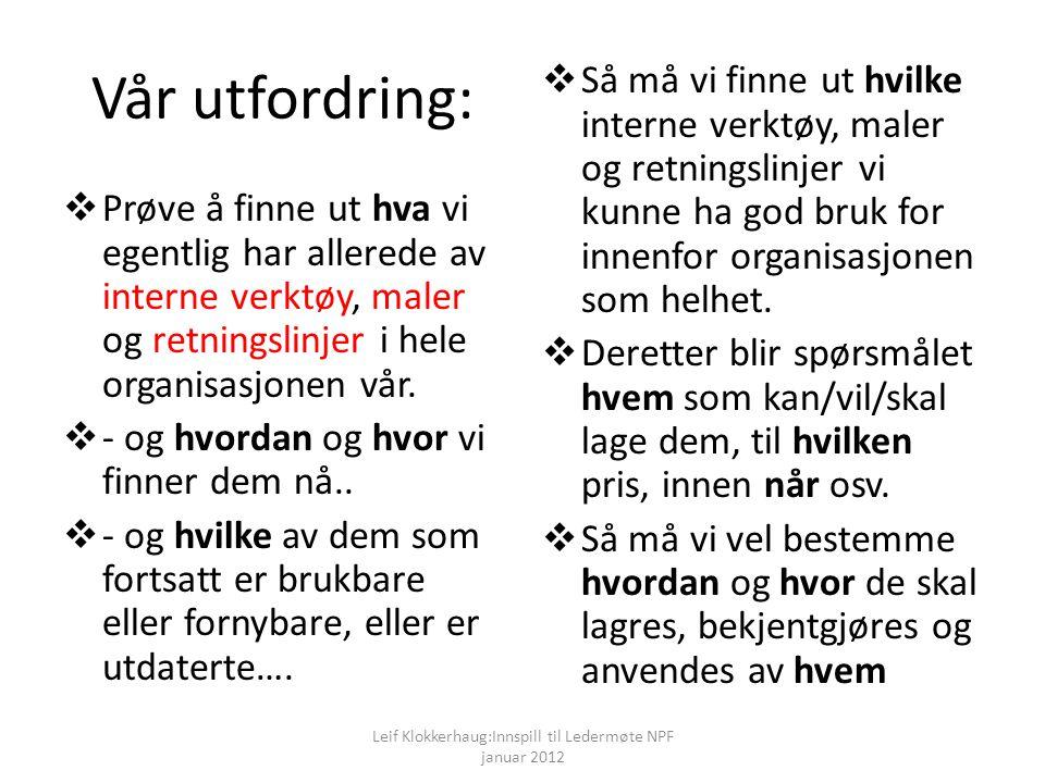 Leif Klokkerhaug:Innspill til Ledermøte NPF januar 2012