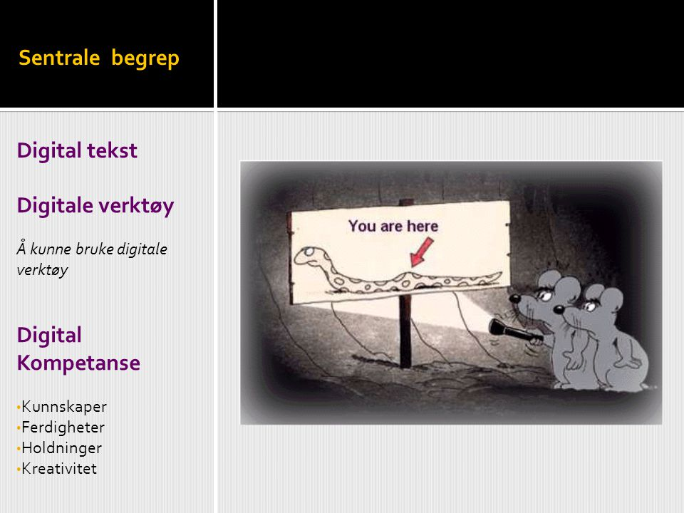 Sentrale begrep Digital tekst Digitale verktøy Digital Kompetanse