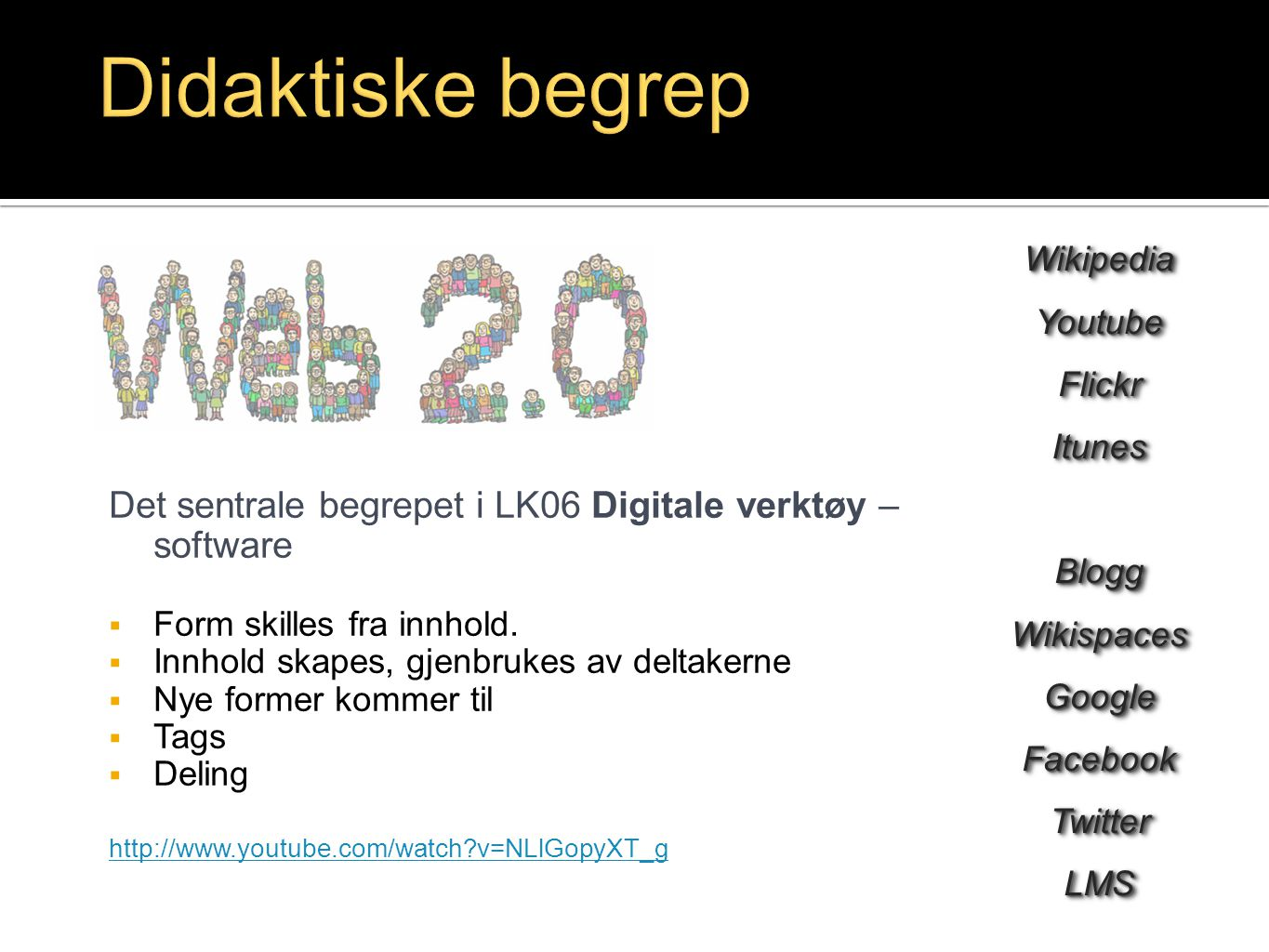 Didaktiske begrep Wikipedia. Youtube. Flickr. Itunes. Blogg. Wikispaces. Google. Facebook. Twitter.
