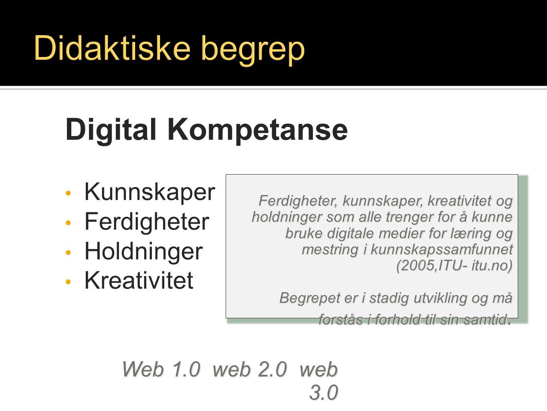 Didaktiske begrep Digital Kompetanse Kunnskaper Ferdigheter Holdninger