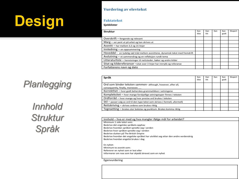 Design Planlegging Innhold Struktur Språk