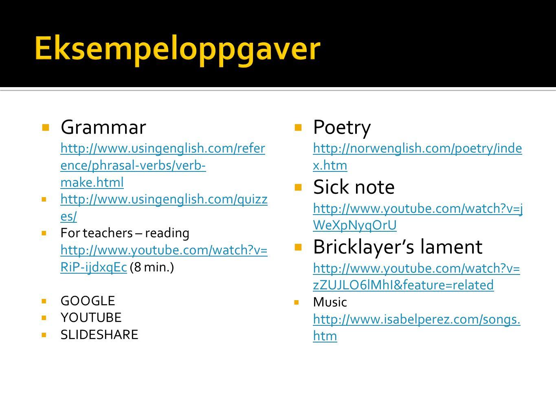 Eksempeloppgaver Grammar http://www.usingenglish.com/reference/phrasal-verbs/verb-make.html. http://www.usingenglish.com/quizzes/