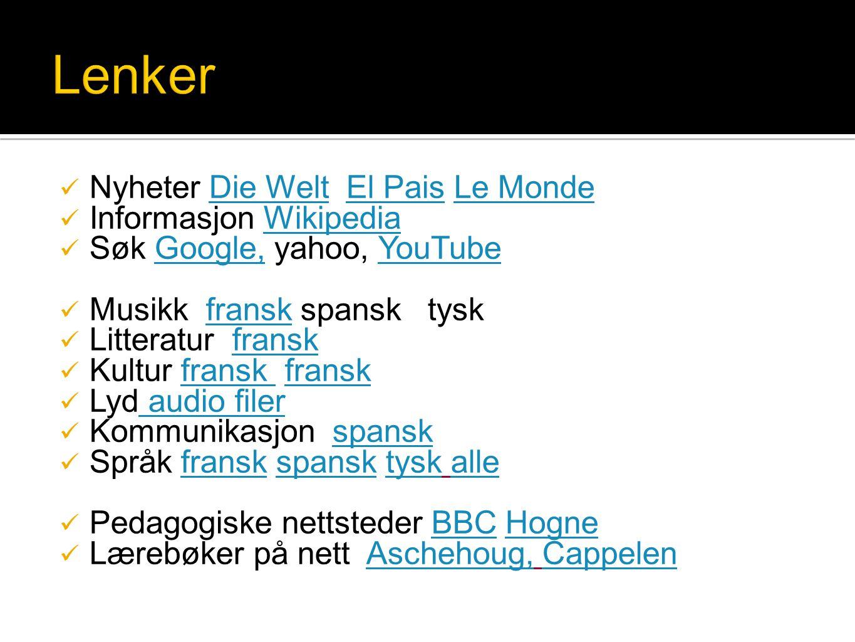 Lenker Nyheter Die Welt El Pais Le Monde Informasjon Wikipedia