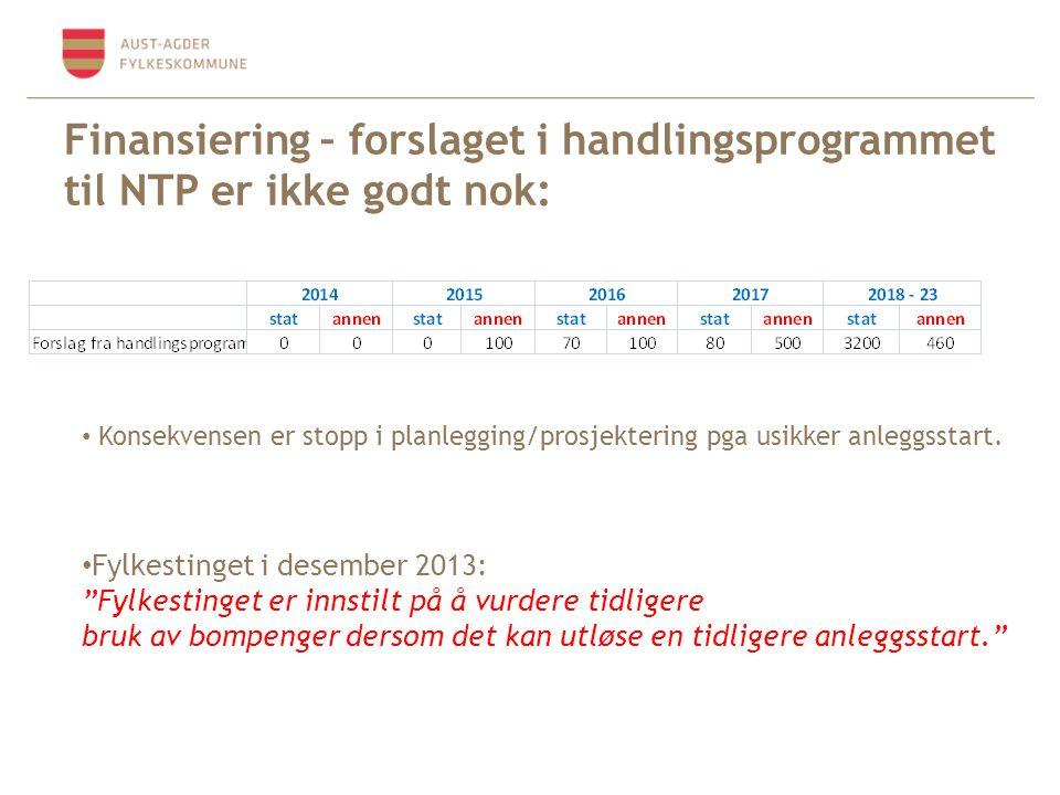 Finansiering – forslaget i handlingsprogrammet til NTP er ikke godt nok: