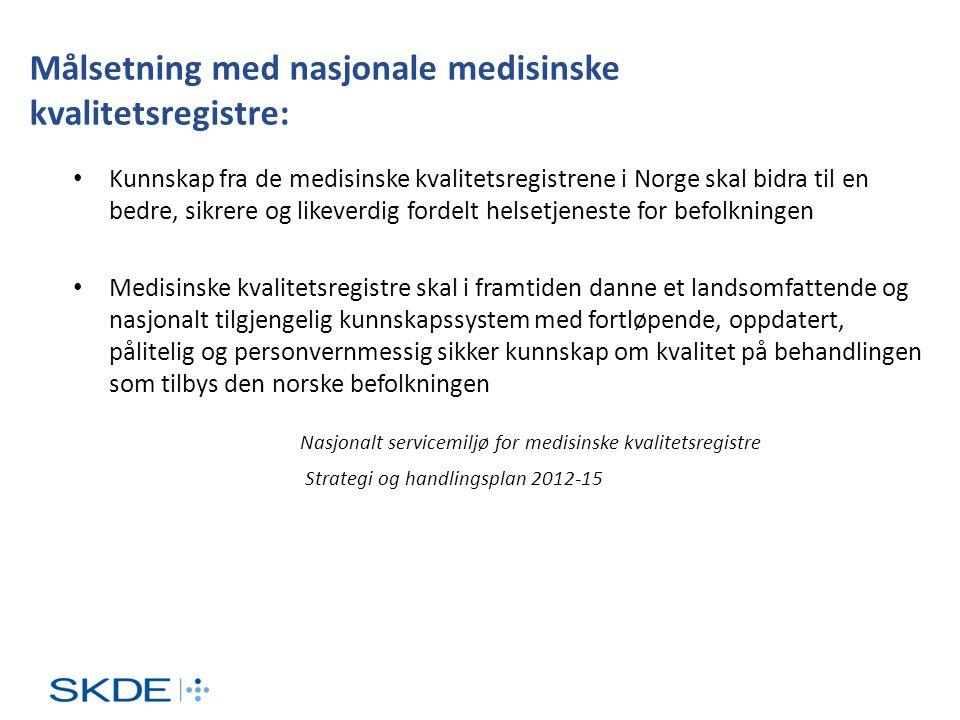 Målsetning med nasjonale medisinske kvalitetsregistre: