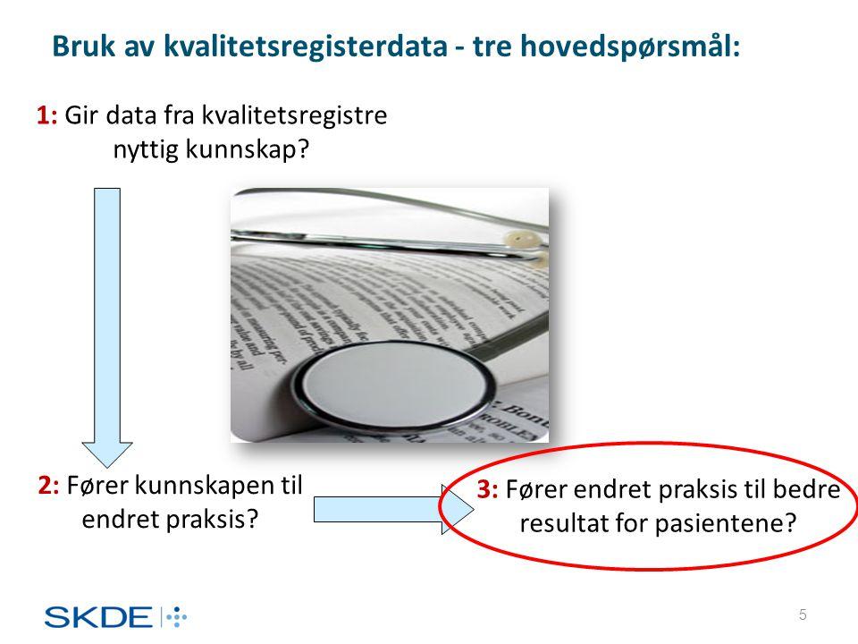Bruk av kvalitetsregisterdata - tre hovedspørsmål: