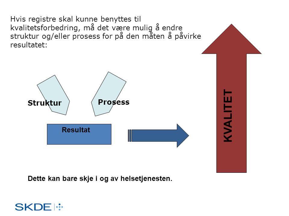 Hvis registre skal kunne benyttes til kvalitetsforbedring, må det være mulig å endre struktur og/eller prosess for på den måten å påvirke resultatet: