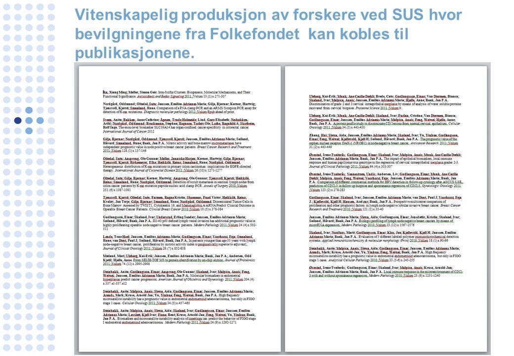 Vitenskapelig produksjon av forskere ved SUS hvor bevilgningene fra Folkefondet kan kobles til publikasjonene.