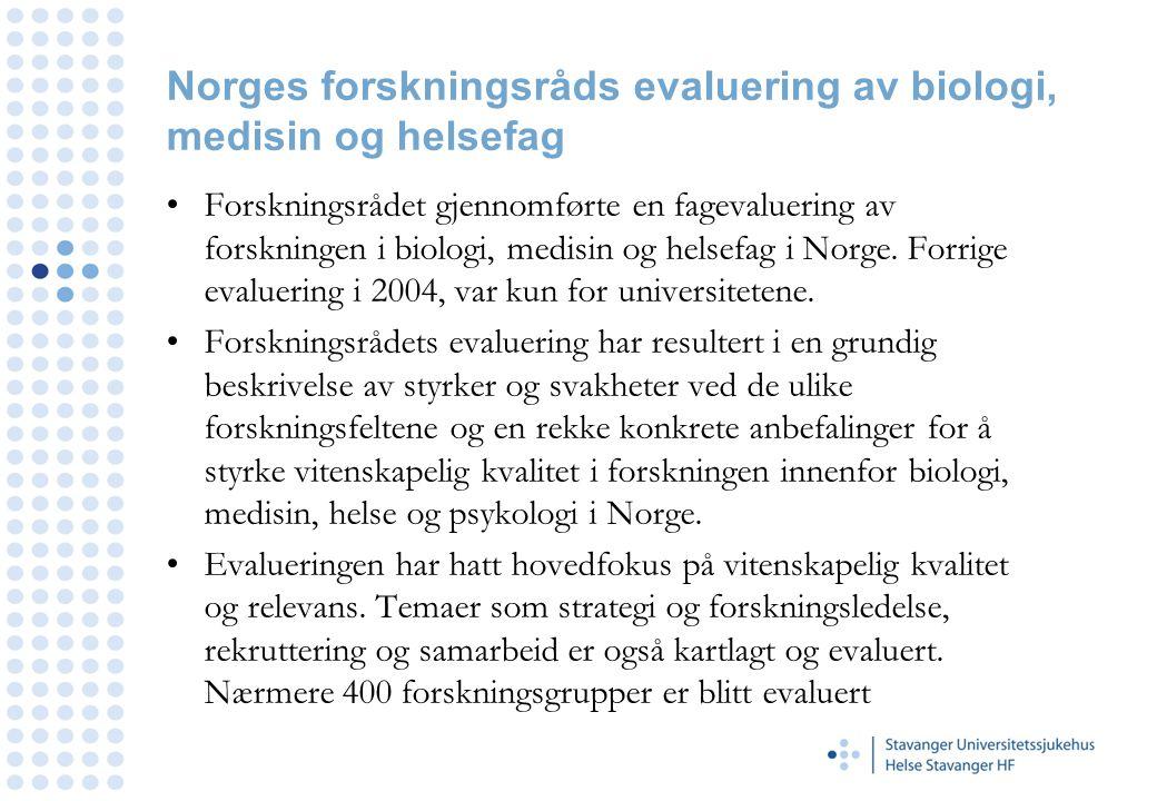 Norges forskningsråds evaluering av biologi, medisin og helsefag
