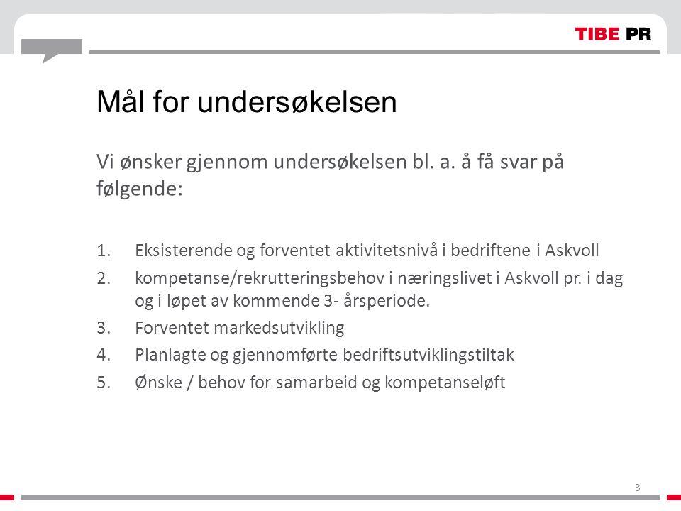Mål for undersøkelsen Vi ønsker gjennom undersøkelsen bl. a. å få svar på følgende: Eksisterende og forventet aktivitetsnivå i bedriftene i Askvoll.