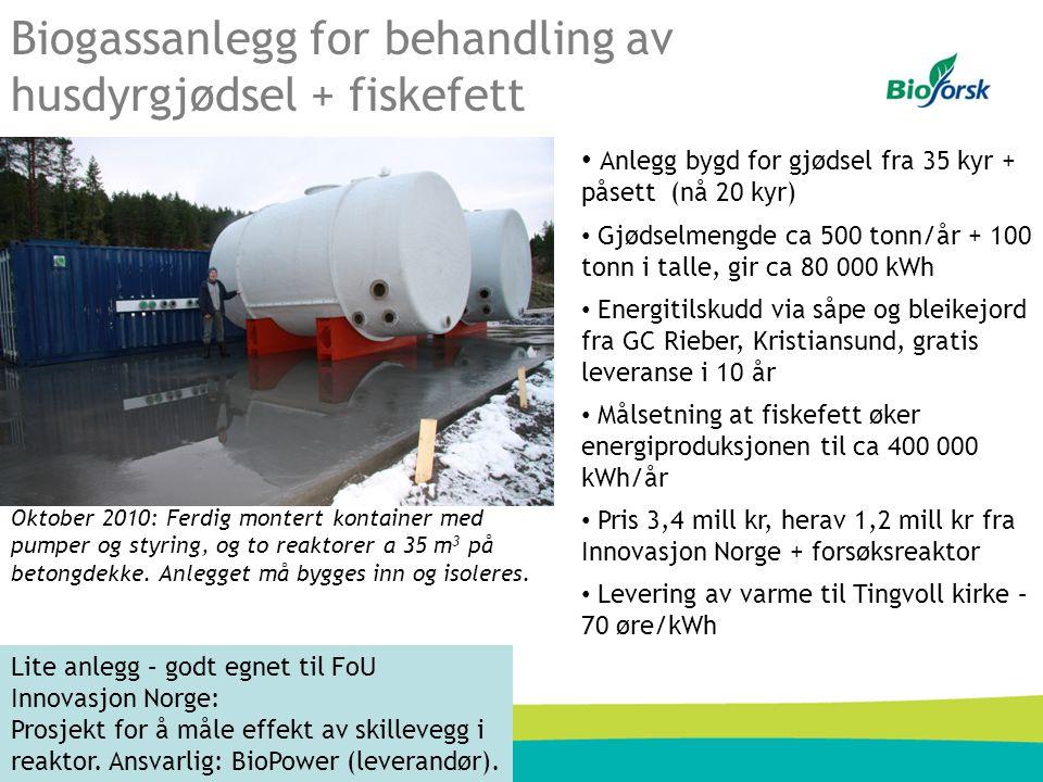 Biogassanlegg for behandling av husdyrgjødsel + fiskefett