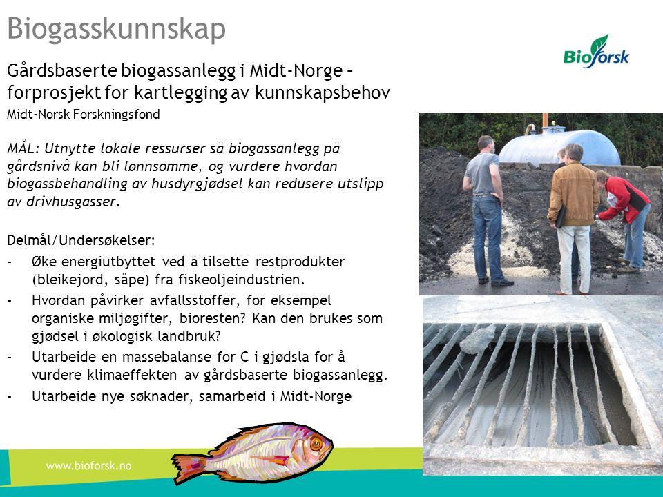 Biogasskunnskap Gårdsbaserte biogassanlegg i Midt-Norge – forprosjekt for kartlegging av kunnskapsbehov.