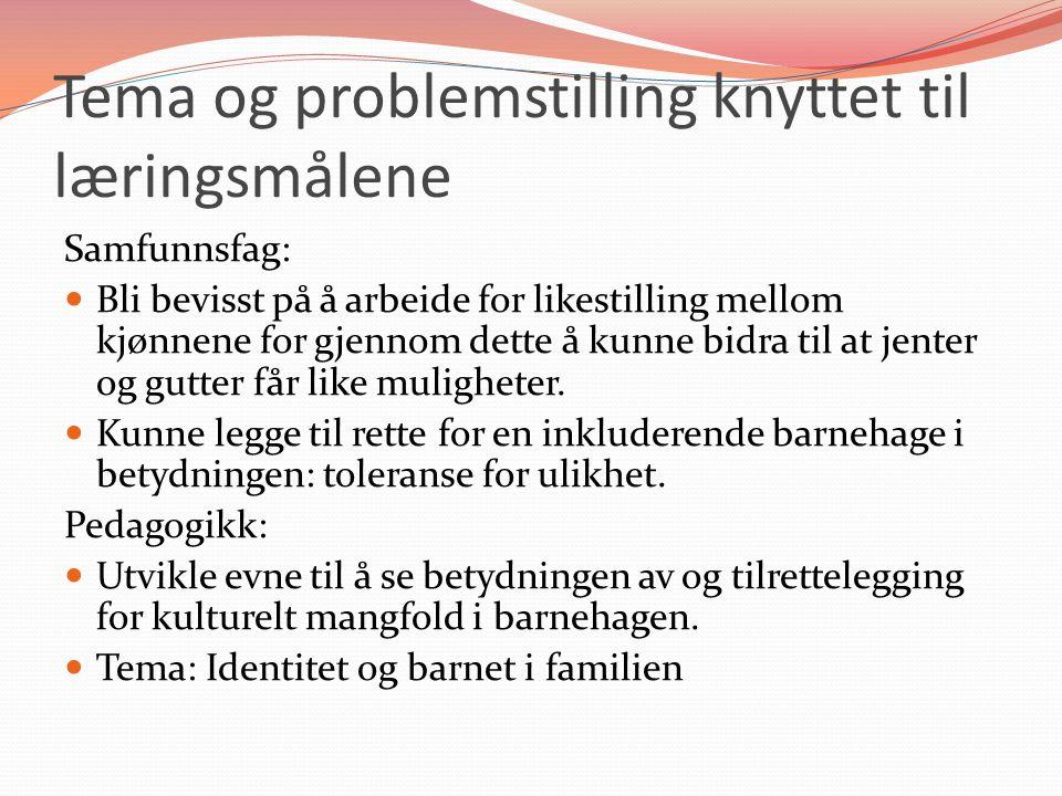Tema og problemstilling knyttet til læringsmålene
