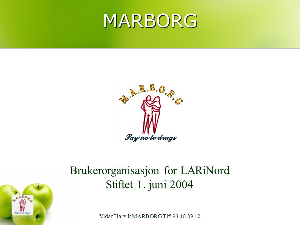 MARBORG Brukerorganisasjon for LARiNord Stiftet 1. juni 2004