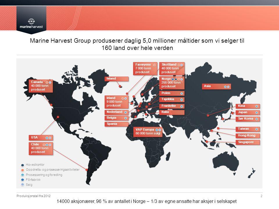 Marine Harvest Group produserer daglig 5,0 millioner måltider som vi selger til 160 land over hele verden