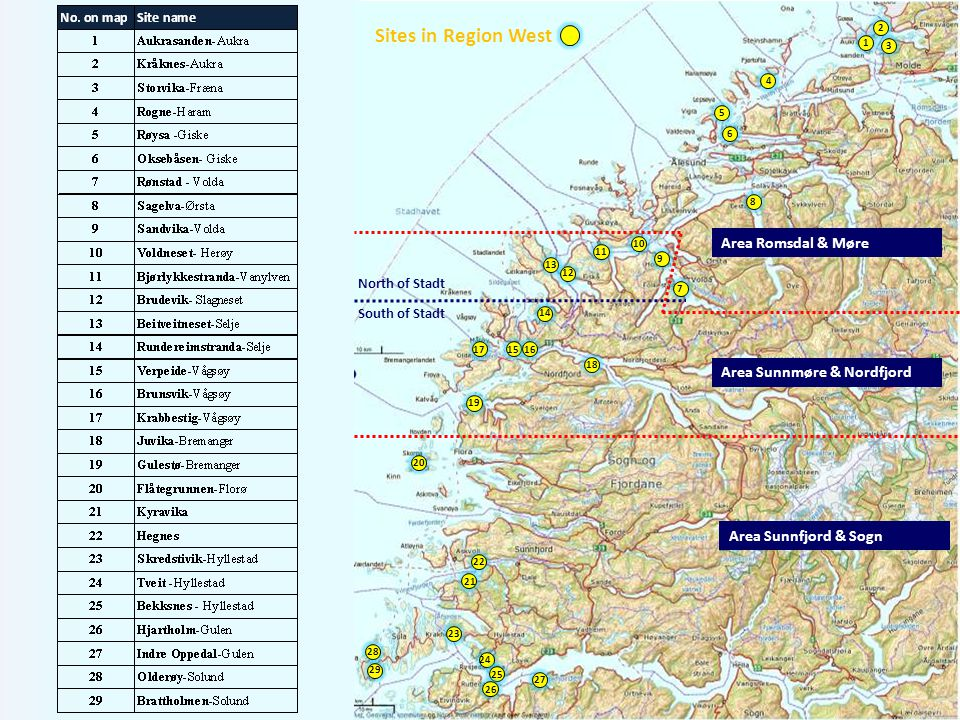 Sites in Region West Area Romsdal & Møre Area Sunnmøre & Nordfjord