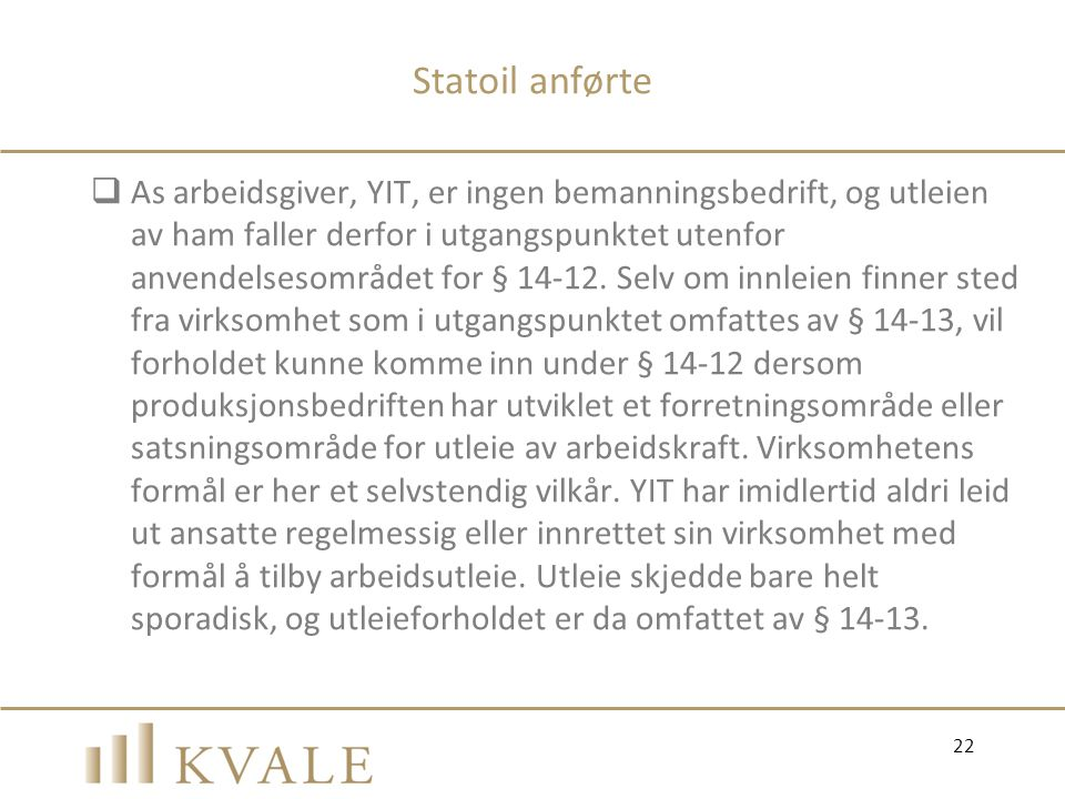 Statoil anførte