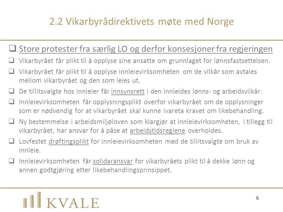 2.2 Vikarbyrådirektivets møte med Norge