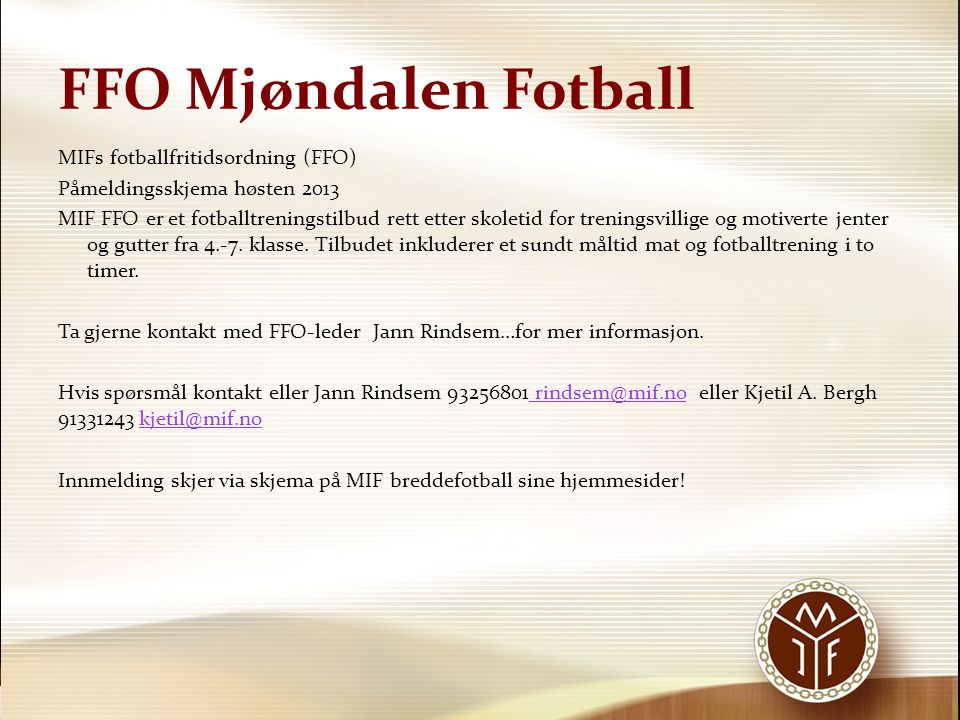 FFO Mjøndalen Fotball