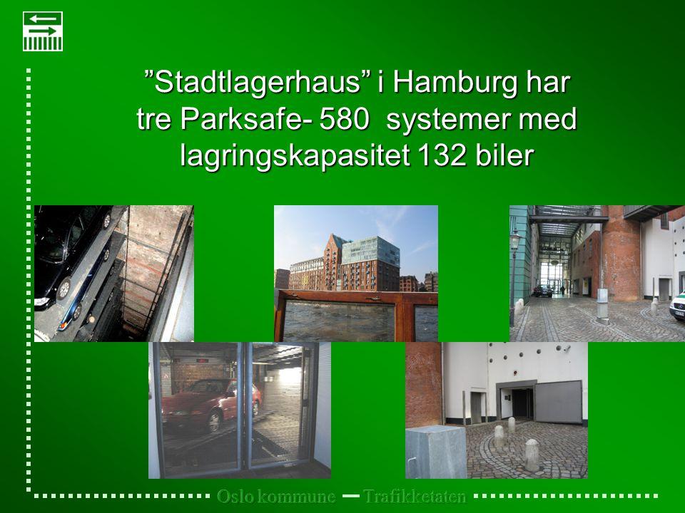 Stadtlagerhaus i Hamburg har tre Parksafe- 580 systemer med lagringskapasitet 132 biler