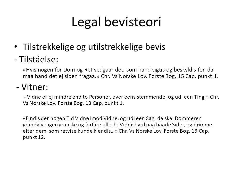 Legal bevisteori Tilstrekkelige og utilstrekkelige bevis - Tilståelse:
