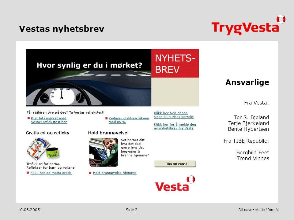 Vestas nyhetsbrev Ansvarlige Fra Vesta: Tor S. Bjoland