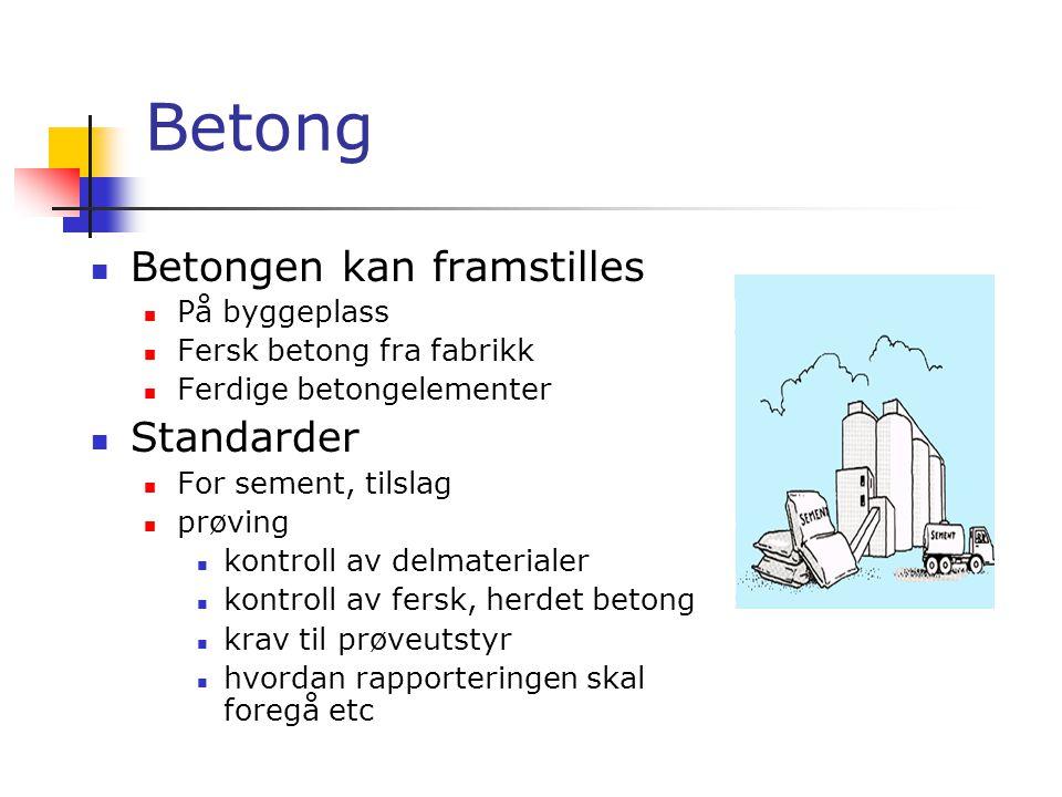 Betong Betongen kan framstilles Standarder På byggeplass