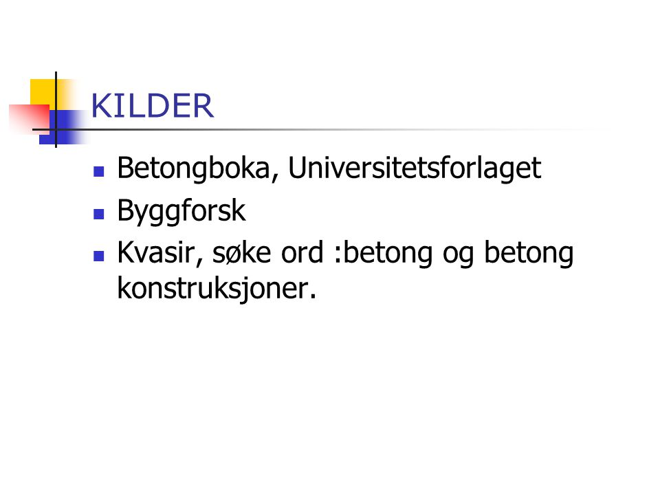 KILDER Betongboka, Universitetsforlaget Byggforsk