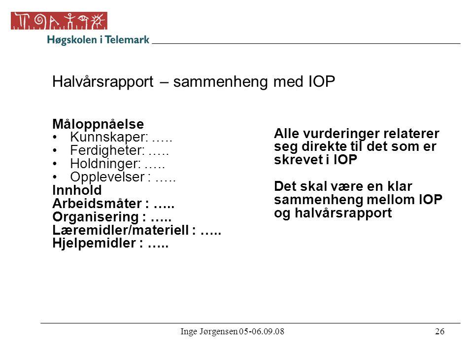 Halvårsrapport – sammenheng med IOP