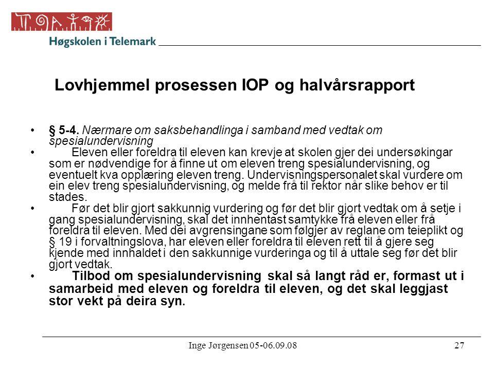 Lovhjemmel prosessen IOP og halvårsrapport