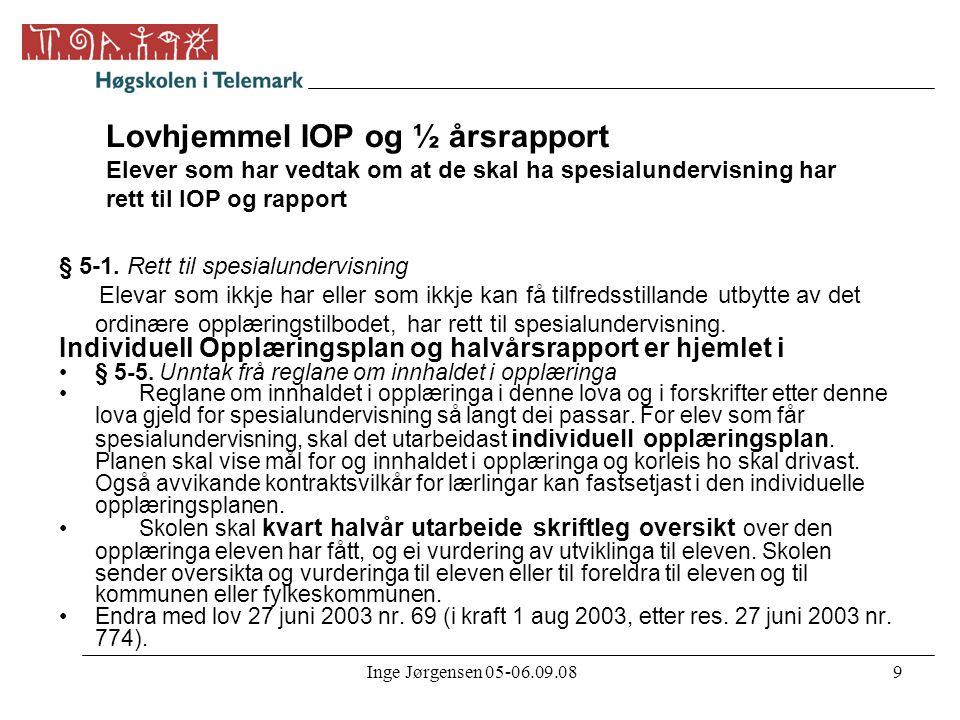 Lovhjemmel IOP og ½ årsrapport Elever som har vedtak om at de skal ha spesialundervisning har rett til IOP og rapport