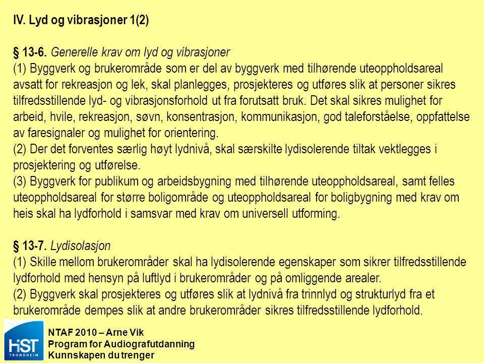 IV. Lyd og vibrasjoner 1(2)