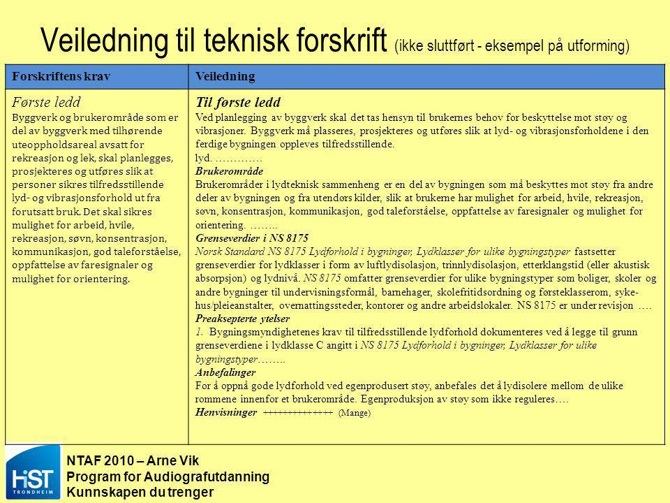 §8-41–§8-42 Veiledning til teknisk forskrift (ikke sluttført - eksempel på utforming) Forskriftens krav.