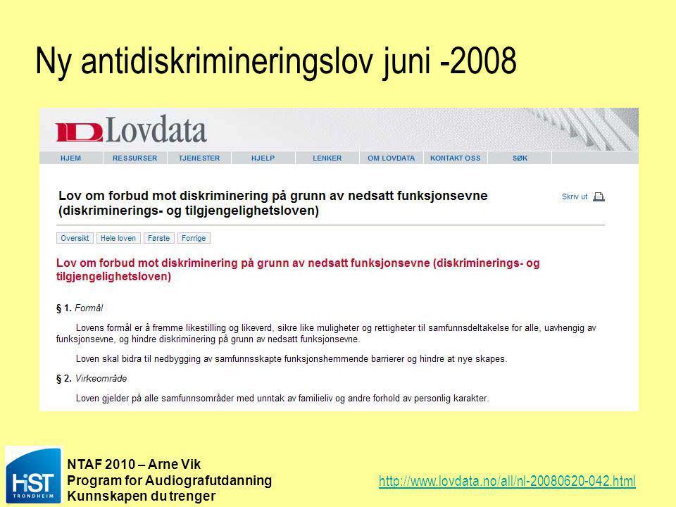 Ny antidiskrimineringslov juni -2008