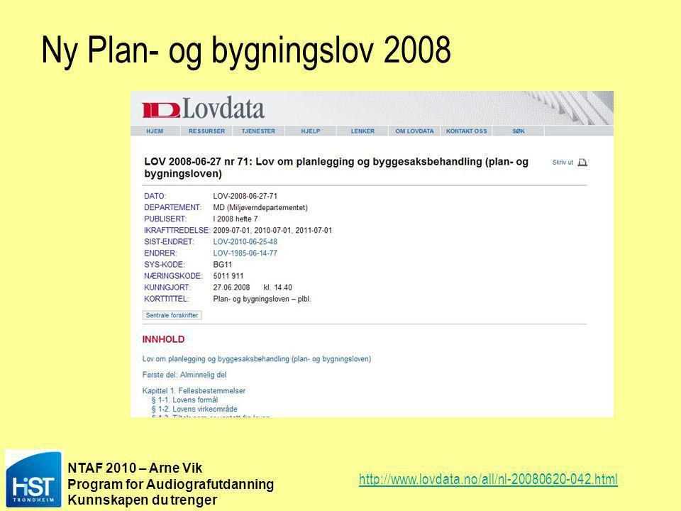 Ny Plan- og bygningslov 2008