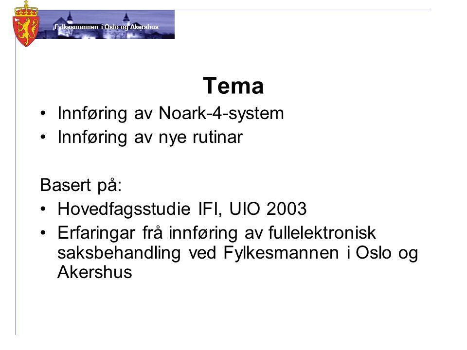 Tema Innføring av Noark-4-system Innføring av nye rutinar Basert på: